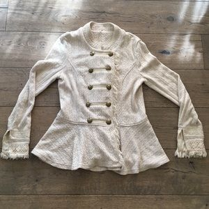 Free People Ivory Cableknit Military Style Jacket